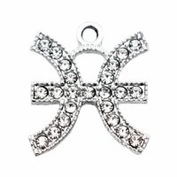 hot sale 20pcs lot Pisces With drill alloy Lobster Clasp Han...