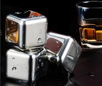Piedra de whisky redonda cuadrada con accesorio de barra de bar de vino enjuague 304 acero inoxidable Cubo de hielo Metal Drink Cooler Cube VT0353