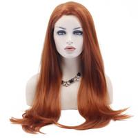 Laranja Auburn Vermelho Fibra de alta temperatura natural longa reta peruca sintética para senhoras meninas mulheres com franja estrondo plana