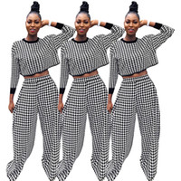 Fashion Pants suits Print Long Sleeve T- shirt Tops Wide Leg ...
