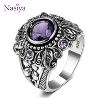 Vintage Jewels 3ct Amethyst 925 Silver Ring Round Court Purp...