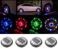 4PCS السيارات RGB ضوء عجلة 4 طرق 12 LED RGB سيارة سيارات الطاقة الشمسية فلاش عجلة صور ضوء مصباح ديكور غطاء السيارة التصميم