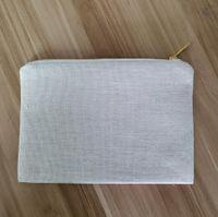 Beige bolsa de maquillaje de lino en blanco de lino bolso cosmético espacios en blanco sublimación faux bolsa de maquillaje de lino para la prensa de vinilo calor.