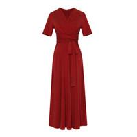 Frauen-Sommer-Weinlese-lange Kleider mit V-Ausschnitt Französisch Gentlewoman Kleid Mode 3 Farben weibliche dünne Kleidung S-XL