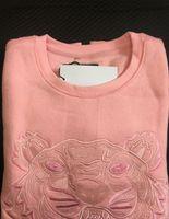 Bordado tigre cabeza suéter hombre mujer de alta calidad manga larga o-cuello pullover sudaderas sudaderas camisetas jersey mejor calidad color rosa