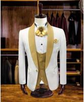 Gerçek Fotoğraf Fildişi Düğün Damat smokin Erkek Şal Yaka İş Prom Parti Blazer Suit Kat (Ceket + Pantolon + Vest + Tie) W1083