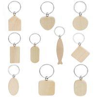 20pcs ronde Blank Rectangle Porte-clés en bois Promotion Diy sur mesure en bois Porte-clés Balises cadeaux promotionnels Accessoires