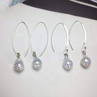 Haute brillance S925 Sterling Silver Pearl crochet oreilles perle Boucles d'oreilles Goutte d'eau baroque perle pour les femmes anniversaire Bijoux cadeau