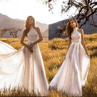 2020 récent été Boho Jardin de mariage Robes de Bohème Une ligne Halter cou corsage en dentelle Long Beach Country Robes de mariée