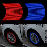 Nuevos creativa anillo de neumáticos de 10 pulgadas, 17 pulgadas de neumáticos color del coche del borde del coche pegatinas reflectantes coche pegatinas reflectantes enfríen círculo interno refl personalidad