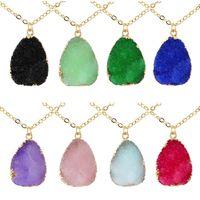 Imitare Irregular Natural Stone Pendente Collana Crystal Crystal Gold Catena Collane gioielli di moda gioielli e nave sabbiosa