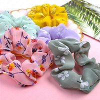 Moda Scrunchies Kafa şifon Çiçek Baskı hairbands Kalın Barsak Saç Kravatlar Halatlar Kadınlar Kızlar at kuyruğu Tutucu Aksesuarları D51106