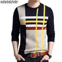 NEWDISCVRY Men Striped Sweater 2019 Spring Autumn Thick Warm...