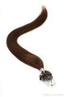 Grade 8A - Extension de cheveux micro-anneaux INDIAN REMY 100% Extensions de cheveux humains 0,8g / s 200s / lot Couleur marron