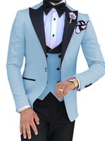 Smoking do noivo Luz Azul Mens Casamento Smoking Black Peak Lapela Side Vent Blazer Man Jacket Popular 3 Piece Suit (jaqueta + calça + colete + gravata) 800