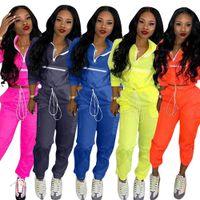 2019 nuevas mujeres sudaderas con cremallera en el cuello manga larga corta zanja safari pantalones largos trajes 2 Conjunto de dos piezas de mujer traje de chándal deportivo