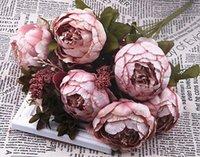 Искусственный шелк Пионы цветы Моделирование пион цветок невесты Холдинг Цветы 8 пион Heads Дом и Свадьба Украшение LXL717Q