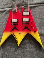 Personalizado EE. UU. Debuts Dave Mustaine Doble Cuello 6 cuerdas + 6 cuerdas Guitarra eléctrica Hardware negro, caja de batería de 9V