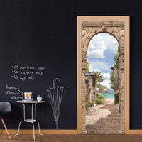 3D Vinyl Door Mural Poster Retro European Stone Arch Wall Sticker Decalcomania Art Decor Rimovibile Murale carta da parati porta economica