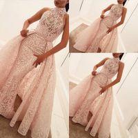 2019 년 새로운 럭셔리 핑크 인어 웨딩 드레스 높은 목 전체 레이스 오버 셔츠 분리 가능한 기차 플러스 사이즈 웨딩 드레스 공식 신부 가운
