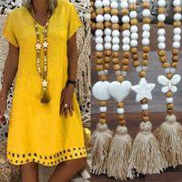 Mulheres boheimian moda longa cadeia de contas de madeira colar de borla borboleta coração estrela cruz turquesa pedra jóia do grânulo