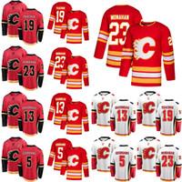 Calgary Flames Trikots 13 Johnny Gaudreau Jersey 23 Sean Monahan 5 Mark Giordano 19 Matthew Tkachuk Red Hockey-Trikots Individuell genäht