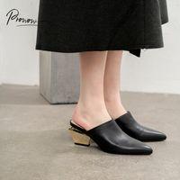 Prowow Moda İlkbahar Yaz Gerçek Deri Ayakkabı Kadın Terlik Sivri Burun Chunky Topuk Kadın Ayakkabı Terlik Mules Kadın