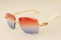2019 yeni fabrika doğrudan lüks moda elmas güneş gözlüğü 3524014 doğal beyaz boynuzları bacakları ayna güneş gözlüğü oyma mercek özel özel