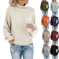 Women warm long sleeve Knitted sweater loose Casual Winter s...