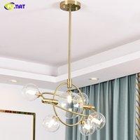 FUMAT Современная глобальная стеклянная люстра света Nordic Bubble Glass Heatant Howing Fights Light Room Light Stripture Лампа