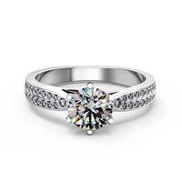 Impostazione di lusso del gruppo 2 file di lusso 1CT 9K, 14K, 18k riempito in oro bianco Moissanite Stone Lab certificato anelli di diamanti test positivo