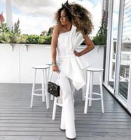 New Chic Vintage Um ombro White Jumpsuit Vestidos de noite com grande arco formal vestidos de bairros personalizados feitos por ocasião especial Pantsuits