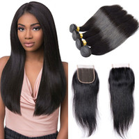 Kinky Straight Hair Weaves 4 Bundles With Closure Human Hair...
