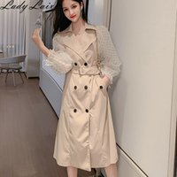 2019 New Fashion Dot Mesh Puff Long Sleeve Patchwork Windbre...