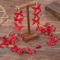 Gelin Kırmızı Kelebek Püsküller Küpe Küpe Uzun Fonu Hiçbir şey Kulak Delik Kulak Klip Ölümsüz Süsleme aşar Serve Tost Marry