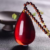 Doğal Amber Kan Perpendants, Su bırak tipi Triko Zinciri, Orjinal Taş, Bal-mum, No-iş-kart kolye