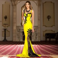 Yellow Spandex New Long Appliques Sexy Sweetheart Illusion Back Dubai Arabic Saudi Arabian Evening Prom Dress Custom Made Plus