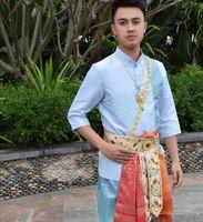 Tailandia única Dai Dai Príncipe de vestuario tradicional de los hombres de la chaqueta de traje azul de manga corta + pantalones + correa de cintura Ropa funcionamiento de la etapa