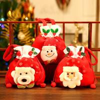 الديكور الأحمر عيد الميلاد هدية حقيبة الرباط كاندي حقيبة الكرتون الدب بابا نويل ثلج حقيبة هدية عيد الميلاد غير المنسوجة هدية الحقيبة DBC VT1121