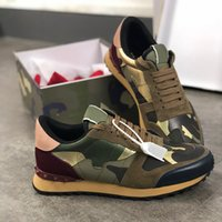 Rockrunner Sneakers Hommes Chaussures Camouflage Noir Entraîneur métallisé Véritable Cuir Plate-forme Chaussures Femme Runner Casual Chaussures avec boîte