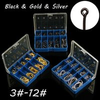 100PCS / 상자 3 # -12 # 블랙 골드 실버 이세 후크 높은 탄소 강철 철 낚시 후크 블루 박스 LL-006