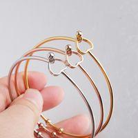 Argento / oro / oro rosa in acciaio inox filo espandibile Bracciale base regolabile braccialetto del cuore del metallo di Open 60mm 10pcs
