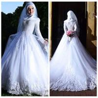 Abiti da sposa musulmani a trape maniche lunghe collo alto bordare 2019 paillettes abiti da sposa medio oriente abiti da sposa personalizzati online