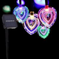 Solar do Coração LED Amor Cordas Outdoor Wedding Party Natal Waterproof Garden Holiday Iluminação Decorativa Cordas