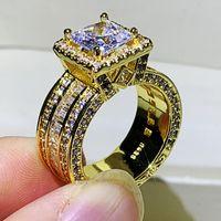 Rulalei Funkelnder Luxus Schmuck 925 Sterling Silbergold Füllung Prinzessin Schnitt Weiß Topas CZ Diamant Edelsteine Frauen Hochzeit Band Ring Geschenk