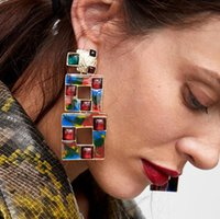 Schmuck Acryl Charme Ohrringe Geometrie muiltlayer aushöhlen Quadratcharme Ohrringe für Frauen heiße Art und Weise