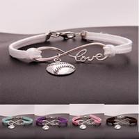 Moda softbol beyzbol charm bilezikler kadınlar Için Mens topu Spor sevgilisi Aşk Infinity kadife Wrap Bileklik DIY Takı Toplu