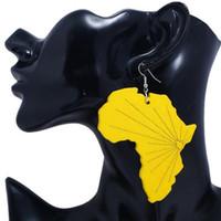 Mapa Africano Moda Madeira Brincos Madeira Clara Orgânica de peso a longo Gota Dangle brincos para mulheres