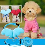 Perro de mascota de moda Correas collares para gatos Conjunto del perrito de Conductores del ala del ángel del arnés ajustable