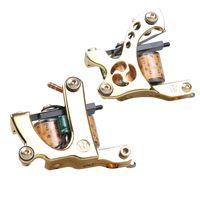 2 PCS Tatouage Machine Double Shader Alliage Cadre 10 Warps Cuivre Bobines de cuivre Pistolets professionnels WQ4150 / 1
